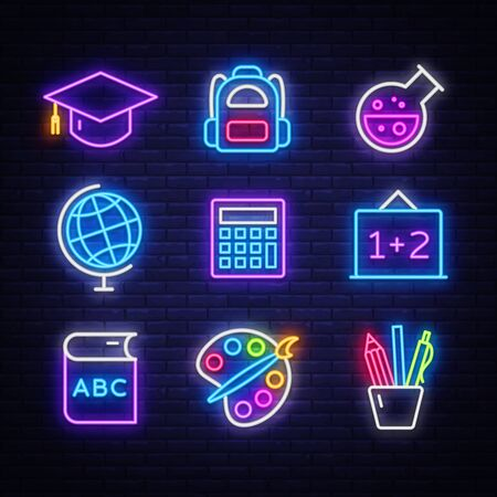 School neon icons set. Back to School neon signs design template. Bright signboard, light banner, Isolated icon. Vector Illustration.