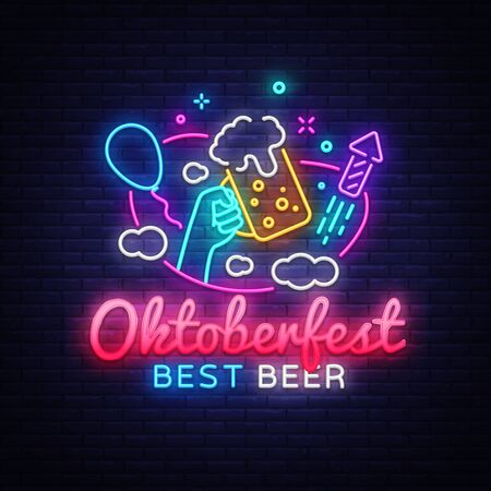 Oktoberfest greeting card. Oktobefest neon sign Design template event celebration. Beer Festival neon banner vector design for invitations and posters. Beer Bavarian Festival banner Illusztráció