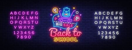 Back to School concept banner in fashionable neon style, luminous signboard, nightly advertising of sales rebates of School. Vector illustration for your projects. Editing text neon sign.