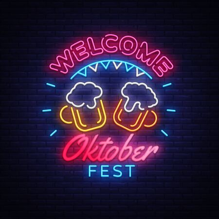 Welcome Oktoberfest greeting card. Oktobefest neon sign Design template event celebration. Beer Festival neon banner vector design for invitations and posters. Beer Bavarian Festival banner.