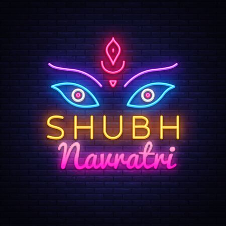 Garba Festival Neon,Navratri Celebration Neon Design, Gujarati Dandiya Night Poster Or Banner Design. Design Template for greeting cards or invitation. Vector Illusztráció