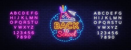 Back to School neon sign vector. Design template neon sign, light banner, nightly bright advertising, light inscription. Vector illustration. Editing text neon sign. Illusztráció