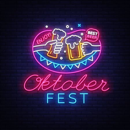 Neon Sign to oktoberfest festival vector. Oktoberfest Menu Neon Sign Vintage vector engraving illustration for invitation to party. Design Template, trendy design, light banner. Vector Illustration