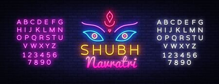 Garba Festival Neon,Navratri Celebration Neon Design, Gujarati Dandiya Night Poster Or Banner Design. Design Template for greeting cards or invitation. Vector. Editing text neon sign