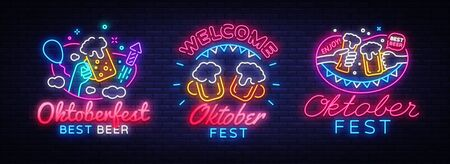 Big collectin neon signs for Oktoberfest. Beer Bavarian Festival Neon Banner Vector. Oktoberfest design template for greeting cards and posters, modern trend design, night light signboard. Vector Illusztráció