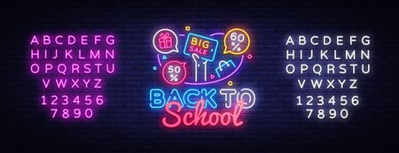 Back to School Vector, discount sale concept illustration in neon style, online shopping and marketing concept. Neon luminous signboard, bright banner, light advertisement. Editing text neon sign. Çizim