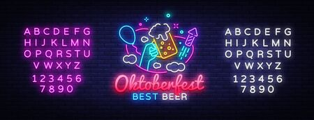 Oktoberfest greeting card. Oktobefest neon sign Design template event celebration. Beer Festival neon banner vector design for invitations and posters. Editing text neon sign. Çizim