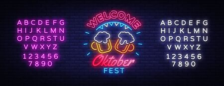 Welcome Oktoberfest greeting card. Oktobefest neon sign Design template event celebration. Beer Festival neon banner vector design for invitations and posters. Editing text neon sign. Çizim