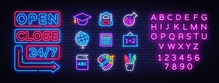 School icons set. Back to school collection neon signs. Open Close Bright sign boards, light banner. Neon isolated icon, emblem, design template. Vector Illustration.