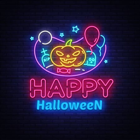 Happy Halloween neon sign design template. Halloween neon icon, light banner design element colorful modern design trend, night bright advertising, bright sign. Vector illustration.