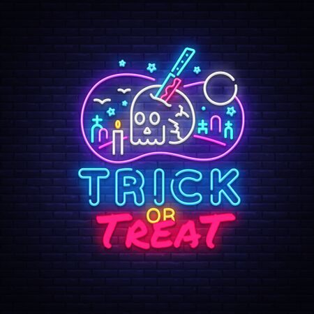 Halloween Neon sign Vector. Trick or Treat neon poster, design template, modern trend design, night signboard, night bright advertising, light banner, light art. Vector illustration. Illusztráció