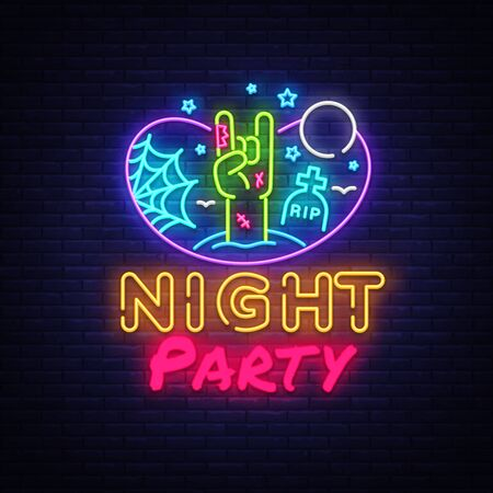 Halloween Party neon sign design template. Night Party neon poster, light banner design element colorful modern design trend, night bright advertising, bright sign. Vector illustration.