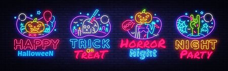 Halloween Neon signs set Vector. Halloween neon icons collection, design template, modern trend design, night signboard, night bright advertising, light banner, light art. Vector illustration.