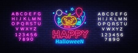 Happy Halloween neon sign design template. Halloween neon icon, light banner design element colorful modern design trend, night bright advertising, bright sign. Vector. Editing text neon sign. Çizim