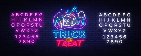 Halloween Neon sign Vector. Trick or Treat neon poster, design template, modern trend design, night signboard, night bright advertising, light banner, light art. Vector. Editing text neon sign.