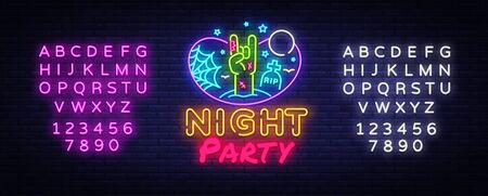 Halloween Party neon sign design template. Night Party neon poster, light banner design element colorful modern design trend, night bright advertising, bright sign. Vector. Editing text neon sign. Illusztráció