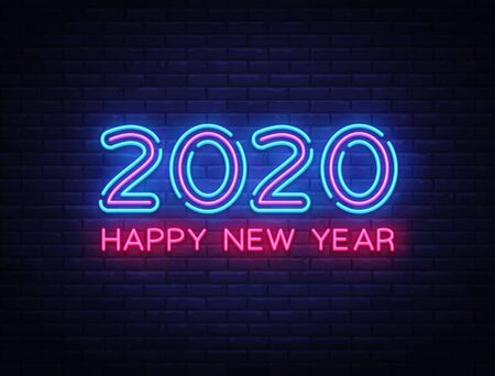 2020 Happy New Year Neon Text. 2020 New Year Design template for Seasonal Flyers and Greetings Card or Christmas themed invitations. Light Banner. Vector Illustration. Standard-Bild - 129520602
