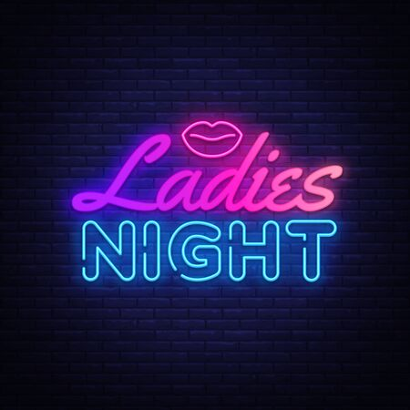 Ladies Night neon sign vector. Night Party Design template poster neon sign, light banner, nightly bright advertising, light inscription. Vector illustration.