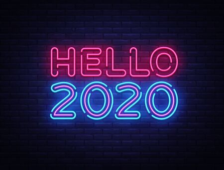 2020 Hello Neon sign Vector. Happy New Year neon poster, design template, modern trend design, night signboard, night bright advertising, light banner, light art. Vector illustration. Illusztráció