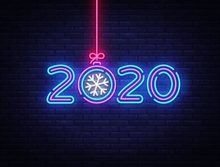 2020 Happy New Year Neon sign Vector. New Year neon poster, design template, modern trend design, night signboard, night bright advertising, light banner, light art. Vector illustration