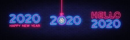 Big set 2020 Happy New Year Neon Text. 2020 Hello New Year Design template for Seasonal Flyers and Greetings Card or Christmas themed invitations. Light Banner. Vector Illustration.