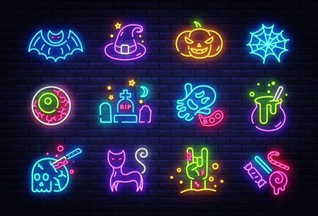 Ensemble d'icônes de néon Halloween. Signes lumineux de collection Halloween heureux. Panneaux d'affichage, bannière lumineuse. Icône isolé au néon, emblème, modèle de conception. Illustration vectorielle