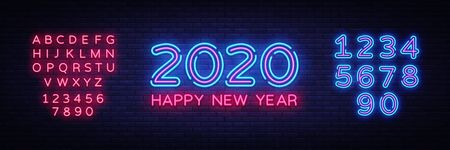 2020 Happy New Year Neon Text. 2020 New Year Design template for Seasonal Flyers and Greetings Card or Christmas themed invitations. Light Banner. Vector Illustration. Editing text neon sign.