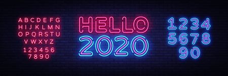 2020 Hello Neon sign Vector. Happy New Year neon poster, design template, modern trend design, night signboard, night bright advertising, light banner, light art. Vector. Editing text neon sign.
