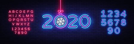 2020 Happy New Year Neon sign Vector. New Year neon poster, design template, modern trend design, night signboard, night bright advertising, light banner, light art. Vector. Editing text neon sign. Çizim