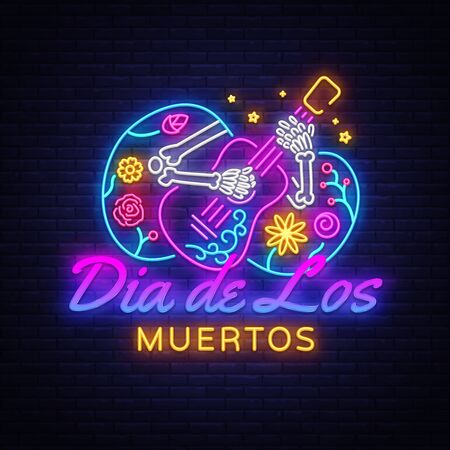 Dia de los muertos Neon Sign Vector. Day of the dead Neon Poster, Mexican holiday, festival design template. Vector poster, banner and card. Vector illustration.