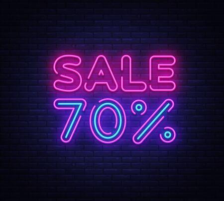 Sale neon sign vector. Big Sale Design template neon sign, light banner, nightly bright advertising, light inscription. Vector illustration.