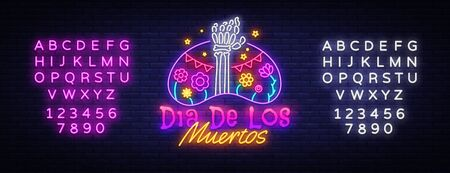 Dia de los muertos Neon Sign Vector. Day of the dead Neon Poster, Mexican holiday, festival design template. Vector poster, banner and card. Vector illustration. Editing text neon sign. Çizim