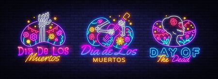 Day of the dead Neon signs set Vector. Dia de los moertos neon icons collection. Fiesta, holiday poster, party flyer, greeting card, design template, modern trend design. Vector illustration.