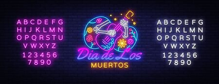Dia de los muertos Neon Sign Vector. Day of the dead Neon Poster, Mexican holiday, festival design template. Vector poster, banner and card. Vector illustration. Editing text neon sign. Stock Illustratie