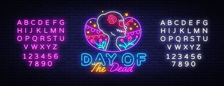 Day of the dead Neon Sign Vector. Dia de los moertos neon banner. Fiesta, holiday poster, party flyer, greeting card. Traditional Mexican Halloween. Vector illustration. Editing text neon sign.