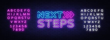 Next Steps neon sign vector. Next Steps Design template neon sign, light banner, nightly bright advertising, light inscription. Vector illustration. Editing text neon sign.
