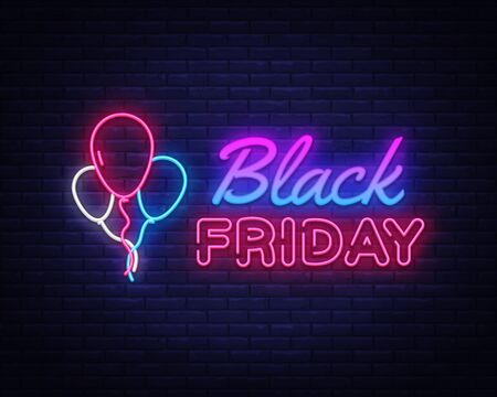 Black Friday Sale neon sign vector. Black Friday Bid discount Design template neon sign, light banner, neon signboard, nightly bright advertising, light inscription. Vector illustration.