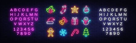 Christmas neon icons set. Happy Christmas collection light signs. Sign boards, light banner. Xmas Neon isolated icons, emblem, design template. Vector Illustration. Editing text neon sign. Çizim