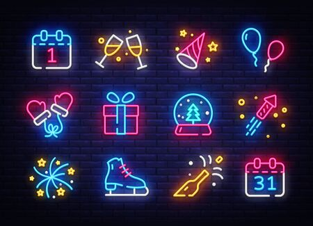 Big collectin New Year neon signs. Happy New Year Neon Icons Vector. Merry Christmas icons lights design template, modern trend design, night light signboard, night bright advertising. Vector.