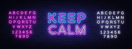 Keep Calm Neon Text Vector. Keep Calm neon sign, design template, modern trend design, night signboard, night bright advertising, light banner, light art. Vector illustration. Editing text neon sign. Stock fotó - 132439176