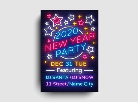 2020 Happy New Year Party Poster Neon Vector. 2020 New Year Design template for Seasonal Flyers and Greetings Card or Christmas themed invitations. Light Banner. Vector Illustration.