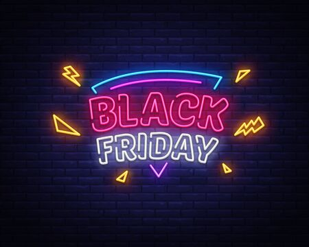 Black Friday Sale neon sign vector. Black Friday Bid discount Design template neon sign, light banner, neon signboard, nightly bright advertising, light inscription. Vector illustration. Illusztráció