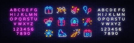 Big collectin New Year neon signs. Happy New Year Neon Icons Vector. Merry Christmas icons lights design template, modern trend design, night light signboard. Vector. Editing text neon sign.