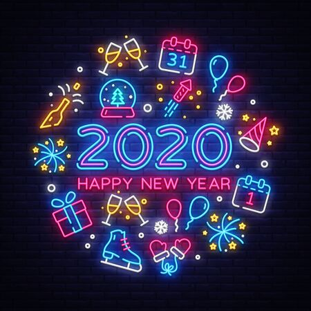 Happy New Year 2020 neon icons set vector. Merry Christmas collection neon signs. Bright sign boards, light banner. Modern trend design, night light signboard, emblems, design template. Vector.