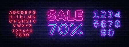 Sale neon sign vector. Big Sale Design template neon sign, light banner, nightly bright advertising, light inscription. Vector illustration. Editing text neon sign. Stok Fotoğraf - 132439183