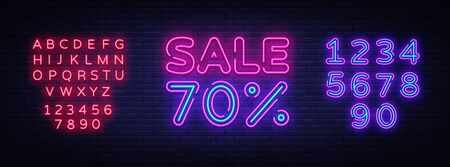 Sale neon sign vector. Big Sale Design template neon sign, light banner, nightly bright advertising, light inscription. Vector illustration. Editing text neon sign.