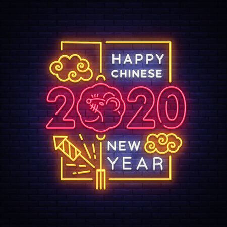 2020 Chinese New Year Neon Vector, greeting card with neon elements. Zodiac sign for flyer, invitation, posters, brochure, banners. Holidays Vector Illustration