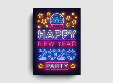 Bonne année 2020 Party Neon Poster Vector. Invitation au néon de fête du nouvel an, modèle de conception, design tendance moderne, célébration de Noël, publicité lumineuse nocturne, bannière lumineuse, art lumineux. Vecteur.
