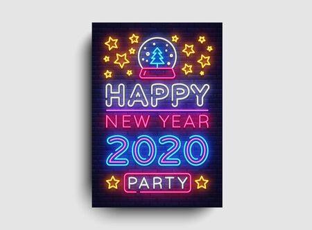 Happy New Year 2020 Party Neon Poster Vector. New year Party neon invitation, design template, modern trend design, Christmas celebretion, night bright advertising, light banner, light art. Vector. Vectores