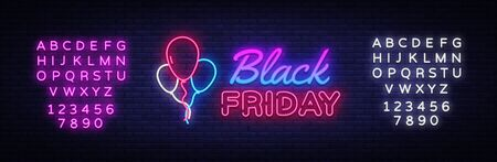 Black Friday Sale neon sign vector. Black Friday Bid discount Design template neon sign, light banner, neon signboard, nightly bright advertising, light inscription. Vector. Editing text neon sign. Stok Fotoğraf - 132439185